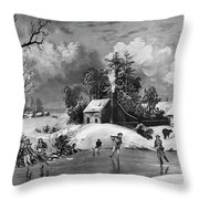 Ice Skating, 1880 Throw Pillow