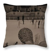 Ice Skating At Rockefeller Center In The Early Days Throw Pillow
