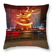 Ice Skating In New York City Throw Pillow