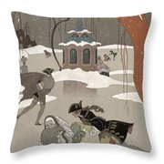 Ice Skating On The Frozen Lake Throw Pillow by Georges Barbier