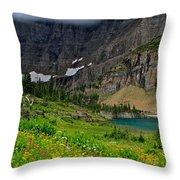 Iceberg Park Tarn Glacier National Park Montana Throw Pillow