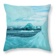 Icebergs On The Southern Beach Throw Pillow