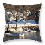 Icebound Harbor Throw Pillow