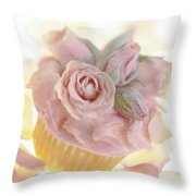 Iced Cup Cake With Sugared Pink Roses Throw Pillow