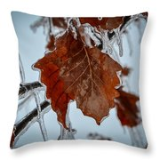 Iced Leaves Throw Pillow