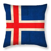 Iceland Flag Vintage Distressed Finish Throw Pillow by Design Turnpike