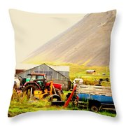 come see me at the Icelandic engine park Throw Pillow