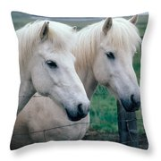Icelandic Horses Throw Pillow