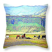 the Icelandic summer scene contains almost everything  Throw Pillow