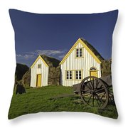 Icelandic Turf Houses Throw Pillow