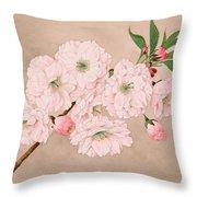 Ichi-yo - Single Leaf - Vintage Japan Watercolor Throw Pillow