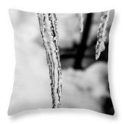 Icicle Black And White Throw Pillow