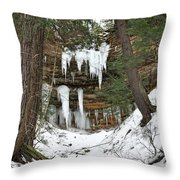 Icicle Formations In The Upper Peninsula Throw Pillow