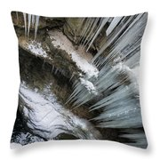 Icicles Hanging In Rocky Gorge In Cold Winter Throw Pillow
