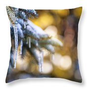 Icicles On Fir Tree In Winter Throw Pillow