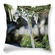 Icicles On Juniper Branch Throw Pillow