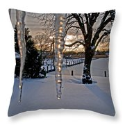 Icicles On The Canal Throw Pillow