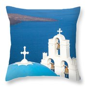 Iconic Blue Cupola Overlooking The Sea Santorini Greece Throw Pillow by Matteo Colombo