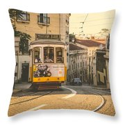 Iconic Lisbon Streetcar No. 28 Iv Throw Pillow