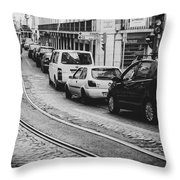 Iconic Lisbon Streetcar No. 28 V Throw Pillow