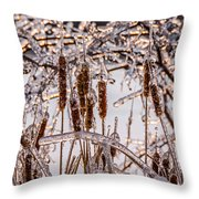 Icy Cattails Throw Pillow