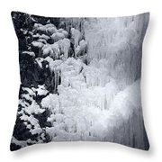Icy Cliff - Black And White Throw Pillow