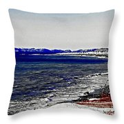 Icy Cold Seascape Digital Painting Throw Pillow