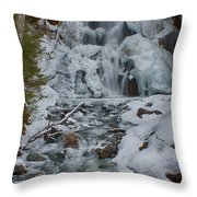 Icy Flow Of Water Throw Pillow