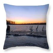 Icy Lake Sunset Throw Pillow
