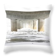 Icy Mississippi Bridge Throw Pillow