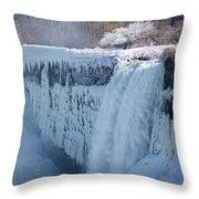 Icy Niagara Falls Throw Pillow
