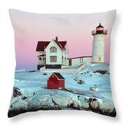 Icy Nubble Lighthouse Throw Pillow
