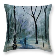 Icy Path - Palette Knife Oil Painting On Canvas By Leonid Afremov Throw Pillow
