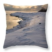 Icy Patterns On The Snow - A Lake Shore Morning Throw Pillow