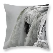 Icy Plunge At Niagara Falls Throw Pillow