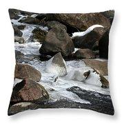 Icy Rapids Throw Pillow