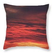 Icy Red Sky Throw Pillow