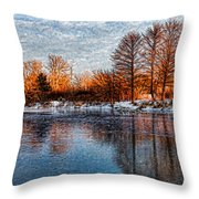 Icy Reflections At Sunrise - Lake Ontario Impressions Throw Pillow