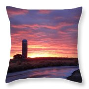 Icy River Sunset Throw Pillow
