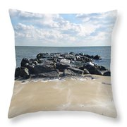 Icy Rocks And Blowing Snow Throw Pillow