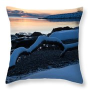 Icy Snowy Winter Sunrise On The Lake Throw Pillow