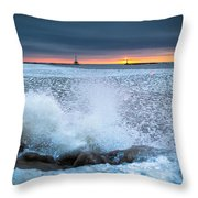 Icy Waves Throw Pillow