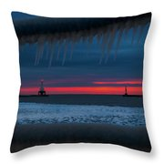 Icy Windows Throw Pillow