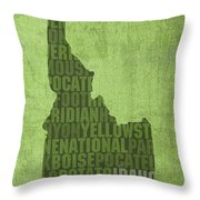 Idaho State Word Art Map On Canvas Throw Pillow