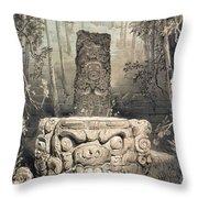 Idol And Altar At Copan Throw Pillow