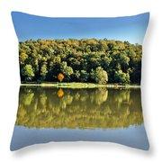 Idyllic Autumn Reflections On Lake Surface Throw Pillow