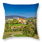 Idyllic Green Nature Of Croatian Village Of Glogovnica Throw Pillow