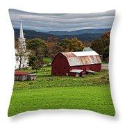 Idyllic Vermont Small Town Throw Pillow