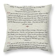 If By Rudyard Kipling Typography On Parchment Throw Pillow