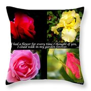 If I Had A Flower Collage Throw Pillow